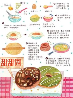 Donuts Dessert Book, Recipe Drawing, Food Painting, Summer Snacks, Bakery Cafe, Food Journal, Food Platters, Food Drawing, Food Illustrations