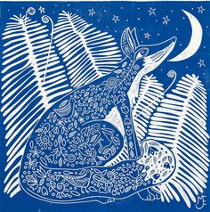 linocut, printmaking, Fox, Ferns, blue, moon, stars, nature, forest, fairytale, folk lore, starry night, home interior, country cottage