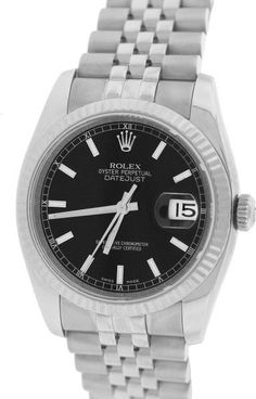 Rolex Datejust 116234 Black Stainless Steel Jubilee 36mm Unisex Watch