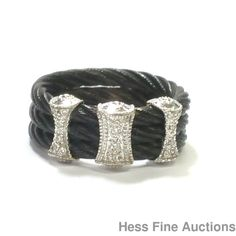 Designer Philippe Charriol 18K White Gold Steel Cable Genuine Diamond Ring	 #Charriol #Band