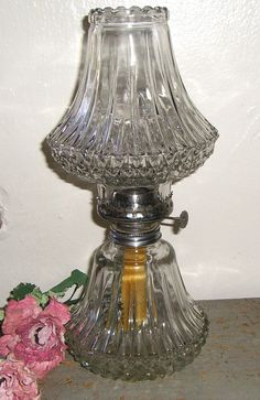 Vintage Oil Lamp Clear Glass Gorgeous Cut Glass by TheBackShak, $35.00
