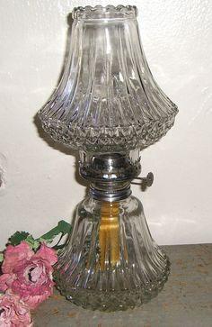 Vintage Oil Lamp Clear Glass Gorgeous Cut Glass by TheBackShak, $35.00