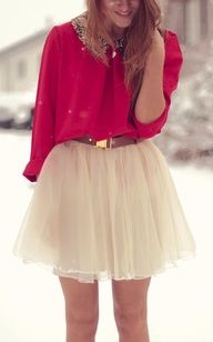 winter red & tulle