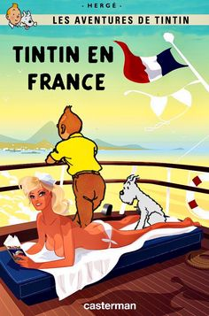 Tintin en France Book Cover Art, Book Art, Tin Tin Cartoon, Herge Tintin, Comic Art, Comic Books, Gravure Illustration, Pin Up, Lucky Luke