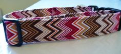 Chevron Dog Collar  Red and Brown  Fall Harvest by katiesk9kollars, $12.00