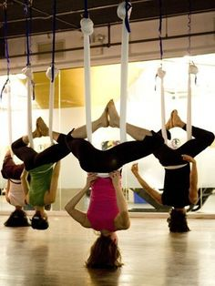 thelivingcarb:    Anti-gravity yoga looks like it would be a blast, however it might be a little scary the first few times.