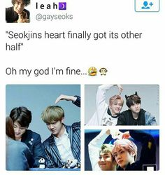 "Take one - Jungkookie: Fail Take two - Yoongi: Fail Take three - Namjoonie: His face is so shocked, like, ""He's doing it. He's making the other half of the heart. What is going on?!"" Like, what? XD *psst* This is what NamJin is people. Isn't it beautiful?"
