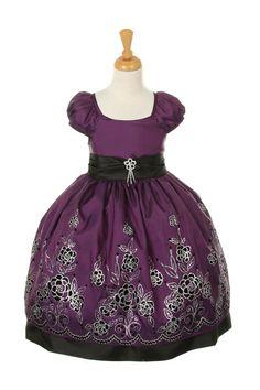 Girls Knee Length Purple Dresses with Flower Design
