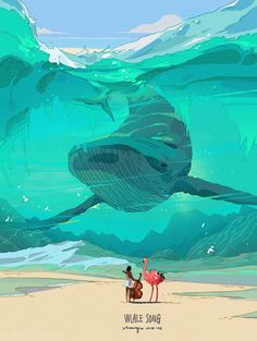12 01 2018 1 24p Whale Song A Sheer Blue-Green Wave Humpback Whale Ostrich Gawker Guitar Player Art by Xi Zhang