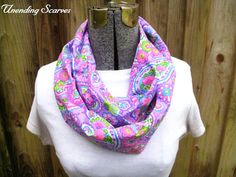 Girl Infinity Scarf -  paisley, pink, purple, blue, green, free shipping, summer, spring, mothers day #etsy  #gifts