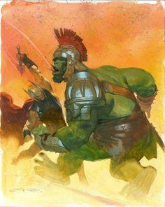 Thor vs Hulk - Esad Ribic, in Alan D's Esad Ribic Comic Art Gallery Room Marvel Comics Art, Marvel Heroes, Marvel Avengers, Captain Marvel, Comic Book Artists, Comic Artist, Comic Books Art, World War Hulk, Planet Hulk