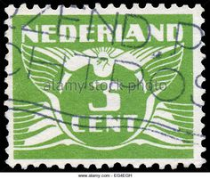 NETHERLANDS - CIRCA 1926: A stamp printed in Netherlands, shows the value of a postage stamp and image of a Flying - Stock Image