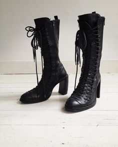 Ann Demeulemeester black triple lace boots - fall 2008   shop at vaniitas.com