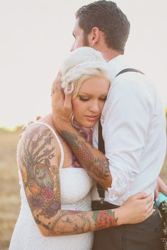 Tattooed Bride, Tattooed Groom, Tattoo wedding Copyright Elate Photography