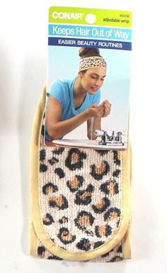 Leopard Print Terry Cloth Cosmetic Adjustable Head Wrap Conair #Conair