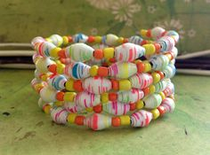 Multicolor bracelet Paper bead bracelet Bangle by JoannaJeanne