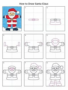Santa Claus Drawing · Art Projects for Kids- Christmas, Drawing, Holiday, Holiday Themes, How to Draw Tutorials Christmas Art Projects, Christmas Arts And Crafts, Winter Art Projects, School Art Projects, Kids Christmas, Projects For Kids, Holiday Crafts, Santa Claus Drawing Easy, Drawing Santa