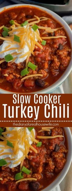 Simple to make right in your slow cooker and the best fall recipe. Serve this Slow Cooker Turkey Chili with warm cornbread or crackers