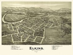 Elkins, Randolph County, West Virginia. Drawn by T. M. Fowler. 1897 Year: 1897 City: Elkins County: Randolph State: West Virginia Country: United States