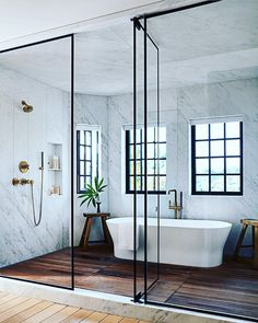 Step Inside Jessica Alba's Haven in Los Angeles This incredible walk-in shower and bath situation is so fun that I never want to go! Step into Jessica Alba's Los Angeles Harbor Architectural Digest Bad Inspiration, Bathroom Inspiration, Bathroom Inspo, Eclectic Bathroom, Boho Bathroom, Teak Bathroom, Spa Inspired Bathroom, Wood Floor Bathroom, Turquoise Bathroom