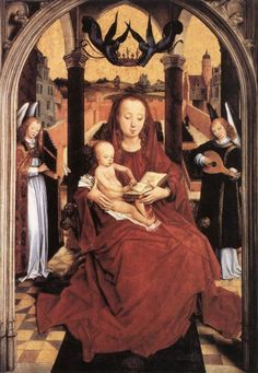 Hans Memling (1435-1494) Virgin and Child Enthroned with two Musical Angels.jpg