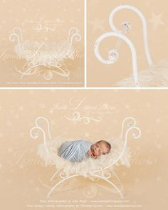 White single Iron bed chair with stars - Newborn digital backdrop /background