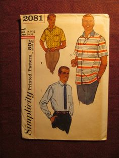 Uncut 1950's Simplicity Sewing Pattern 2081 Men's by EarthToMarrs, $10.00