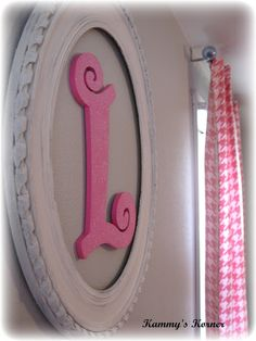 girl room: Pink Letter in White Vintage Frame