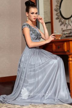 grey cap sleeve scoop neck beaded embroidered bodice a-line long formal dress