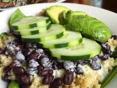 A protein packed quinoa with Mediterranean flavors – cucumbers, avocado, garlic, mint, dill, extra virgin olive oil, fresh lemon and a little beans combined makes a healthy meal with fresh clean ingredients.
