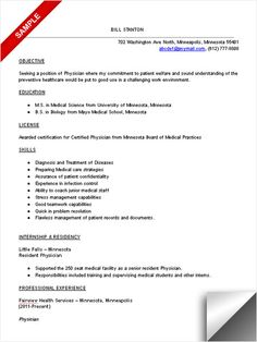 physician resume sample template