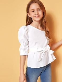 To find out about the Girls Asymmetrical Neck Puff Sleeve Belted Top at SHEIN, part of our latest Girls Blouses ready to shop online today! Dresses Kids Girl, Cute Girl Outfits, Little Girl Outfits, Kids Outfits Girls, Cute Dresses, Kids Girls Tops, Top Girls, Preteen Girls Fashion, Girls Fashion Clothes