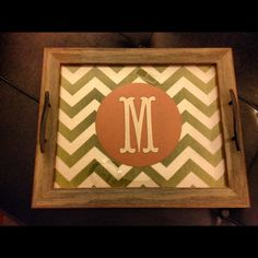 Rustic Decorative Wooden Tray With Monogram