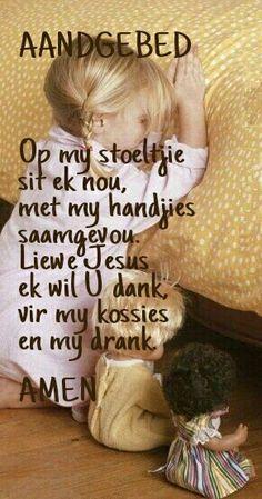 Afrikaans Aand Gebed vir kinders Kids Poems, Bible For Kids, Kindergarten Lessons, Preschool Learning, Dune, Good Morning Prayer, Prayer Stations, Bedtime Prayer, School Songs
