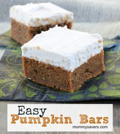 Easy Pumpkin Bars - This recipe for pumpkin bars has been a popular one on the Mommysavers Forums for many years.