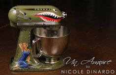 bomber, p-51 shark mouth Custom painted KitchenAid Mixer, pinup with overalls by © NICOLE DINARDO of UN AMORE