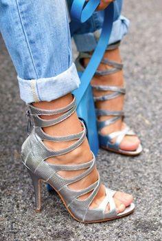 She needs nailpolish ✿Stilettos~Pumps~Heels✿ *****criss cross straps***** Silver Strappy Sandals, Strappy Heels, Stilettos, Shoes Heels, Silver Heels, Jeans Heels, Silver Tie, Sandal Heels, Caged Sandals