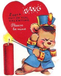 Vintage Valentine Card Bear Firecracker BANG by PaperPrizes, $4.00