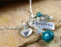 Yoga Jewelry, Breathe Charm Necklace, Chakra Jewelry, Sterling Silver via Etsy