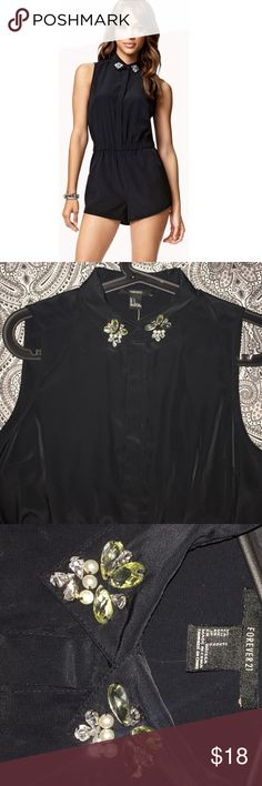 ✨ Romper with Embellished Collar  Super cute and comfy! Never worn just tried on. Tag was removed. Love the jewels on the  collar  IM OPEN TO OFFERS! Forever 21 Dresses Mini