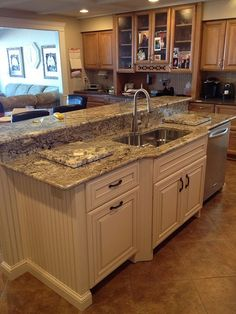Love the flooring/granite/cabinet color coordination here!  Litt's Plumbing Kitchen & Bath Gallery #Kitchen Remodel
