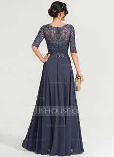 A-Line Scoop Neck Floor-Length Chiffon Evening Dress With Sequins - Evening Dresses - JJ's House Jj Dresses, Navy Prom Dresses, Event Dresses, Wedding Party Dresses, Fall Dresses, Nice Dresses, Glamorous Evening Dresses, Chiffon Evening Dresses, Evening Gowns