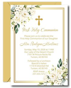 Order White Floral First Communion Invitations, call to buy printed invites or to get more information about our easy DIY editable templates.