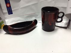 vintage canadian antique coffee mug whit assorted canoe retro deco  $33.56
