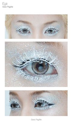 The tutorial isn't in english so the picture here was more helpfull to me than then the actual site, but from the looks of it she used a white mascarea and glitter to make the frostbit/frozen eye look. [How to] Glitter and Ice - The ice queen. Bit late for the Snow Queen but still beautiful: