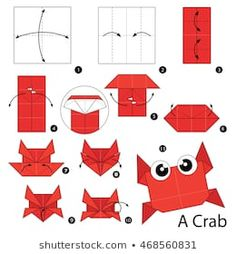 Step by step instructions how to make origami A Crab. Step by step instructions how to make origami A Crab. 3d Origami Heart, Origami 3d, Kids Origami, How To Make Origami, Paper Crafts Origami, Oragami, Origami Animals, Owl Cartoon, Cute Cartoon Animals