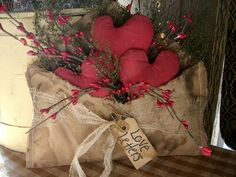 love letter -decoration floral and fabric hearts in burlap letter bag - shabby-chic idea