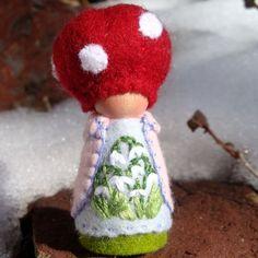 Snowdrop Mushroom Cap Gnome ©2012 by Painting Pixie Studio