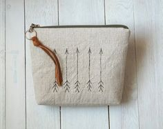 Linen arrows pouch cosmetic pouch Make up bag Oatmeal by MalooMi