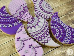 Purple paisley lace sugar cookies Sweet17Cookies.Etsy.com